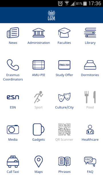 UAM Erasmus mobile app main menu - screenshot
